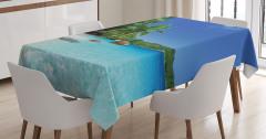Beyaz Kumlu Cennet Temalı Masa Örtüsü Deniz Gökyüzü