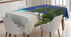 Lacivert Gökyüzü Temalı Masa Örtüsü Mavi Deniz Ada