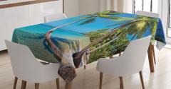 Güneşli Plaj Temalı Masa Örtüsü Deniz Palmiye