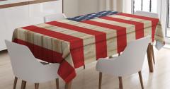 Amerikan Bayrağı Desenli Masa Örtüsü Ahşap Çit