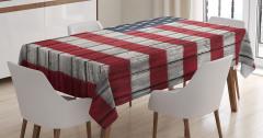 Amerikan Bayrağı Desenli Masa Örtüsü Ahşap Boyalı
