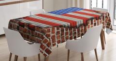 Tuğla Üstünde ABD Bayrağı Desenli Masa Örtüsü