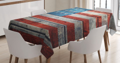 Ahşap Baskılı ABD Bayrağı Desenli Masa Örtüsü
