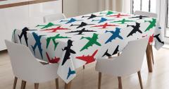 Rengarenk Uçak Desenli Masa Örtüsü Yeşil Kırmızı