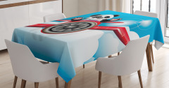 Çocuklar için Masa Örtüsü Uçan Panda Temalı Mavi