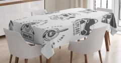 Siyah Beyaz Masa Örtüsü Nostaljik Uçak Logoları