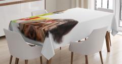 Sevimli Süslü Tüylü Köpek Temalı Masa Örtüsü Beyaz