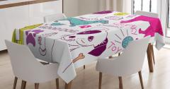 Hayvan Severlere Masa Örtüsü Renkli Köpek Desenli