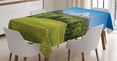 Dağ Köyünde Kış Manzaralı Masa Örtüsü Kar Ağaç
