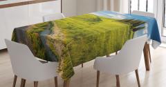 Huzurlu İtalya Manzarası Masa Örtüsü Ağaçlar Yeşil
