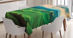 Tepede Gün Batımı Manzaralı Masa Örtüsü Doğa Yeşil