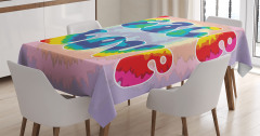 Aşk ve Barış Temalı Masa Örtüsü Rengarenk Gökkuşağı