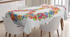 Barış Çiçekleri Desenli Masa Örtüsü Rengarenk Hippi