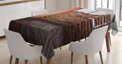 Terk Edilmiş Oda Temalı Masa Örtüsü Ahşap Görünümlü