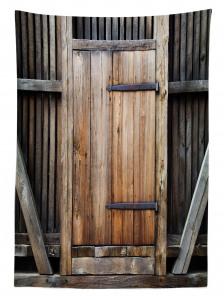 Antika Ahşap Kapı Temalı Masa Örtüsü Bina Mimari