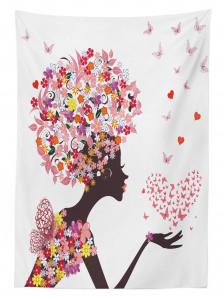 Pembe Kelebekli Kız Desenli Masa Örtüsü Kalpli Trend