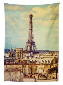 Eyfel Kulesi Manzaralı Masa Örtüsü Paris Temalı Şık