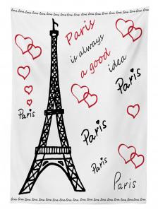Aşk Temalı Masa Örtüsü Paris Çeyizlik Şık Tasarım