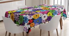 Çiçek Temalı Masa Örtüsü Rengarenk Çeyizlik Şık