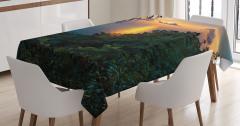 Gün Doğumu Manzaralı Masa Örtüsü Deniz Güneş Ağaç