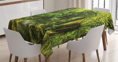 Doğa Yürüyüşü Temalı Masa Örtüsü Yeşil Ağaç Orman