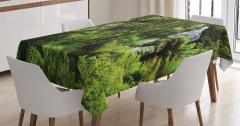 Ormandaki Şelale Temalı Masa Örtüsü Yeşil Ağaç Doğa
