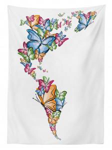 Kelebekler Atlası Desenli Masa Örtüsü Rengarenk