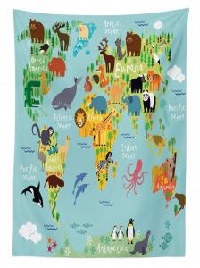 Hayvan Haritası Desenli Masa Örtüsü Çocuklar İçin