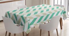 Yeşil Zikzak Deseni Masa Örtüsü Bahar Zamanı Beyaz
