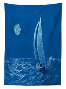 Ay Dalga ve Yelkenli Desenli Masa Örtüsü Denizcilik