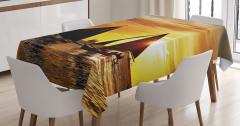Yelkenli ve Gün Batımı Temalı Masa Örtüsü Sanatsal