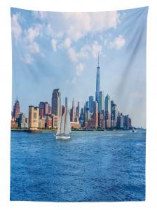 Beyaz Yelkenli ve Gökdelen Temalı Masa Örtüsü Modern