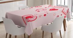 Pembe Masa Örtüsü Romantik Kalp Desenleri Kırmızı