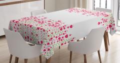 Beyaz Masa Örtüsü Romantik Kalp Desenleri Kırmızı