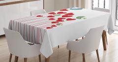 Aşk Temalı Masa Örtüsü Kuşlar Kalpler Kırmızı Beyaz