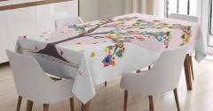 Aşk Ağacı Temalı Masa Örtüsü Rengarenk Kalp Desenli