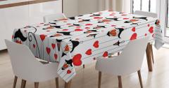 Aşk Işığı Temalı Masa Örtüsü Kırmızı Beyaz Siyah