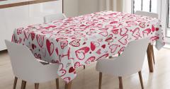 Beyaz Masa Örtüsü Pembe ve Kırmızı Kalp Desenli