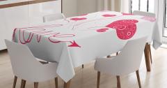 Aşk Temalı Masa Örtüsü Kalpli Balonlar Desenli Pembe