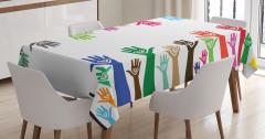 Sevgililer Temalı Masa Örtüsü Renkli Buluşan Eller