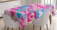 Pembe Masa Örtüsü Mavi Beyaz Kalp Desenleri Aşk