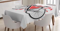 Bisiklet Severlere Masa Örtüsü Siyah Beyaz Aşk