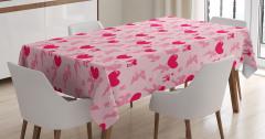 Pembe Masa Örtüsü Aşk Temalı Eros Kırmızı Kalpli