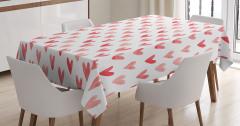 Suluboya Resmi Etkili Masa Örtüsü Kırmızı Kalpler