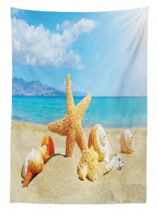 Deniz Yıldızı ve Plaj Desenli Masa Örtüsü Bej Mavi