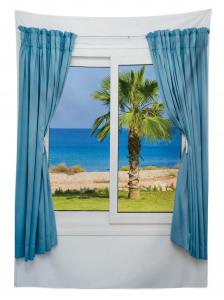 Pencereden Deniz Manzaralı Masa Örtüsü Beyaz Mavi