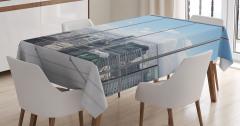 Pencere ve Gökdelen Temalı Masa Örtüsü Modern Dizayn