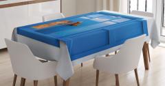 Pencereden Kayalık Sahil Manzaralı Masa Örtüsü Mavi
