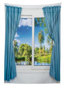 Pencere Göl Kıyısı Manzaralı Masa Örtüsü Mavi Yeşil