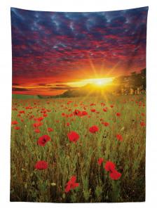 Gelincik Çiçeği ve Gün Batımı Temalı Masa Örtüsü Mor